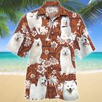 Samoyed Dog Red Tribal Pattern Hawaiian Shirt