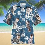 Standard Schnauzer Dog Blue Tribal Pattern Hawaiian Shirt