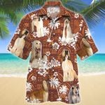 Afghan Hound Dog Red Tribal Pattern Hawaiian Shirt