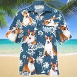 Miniature Bull Terrier Dog Blue Tribal Pattern Hawaiian Shirt