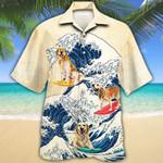Golden Retriever Dog Lovers Wave Hawaiian Shirt