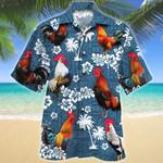 Rooster Lovers Blue Tribal Hawaiian Shirt