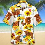 Highland Cattle Lovers Sun Flower Hawaiian Shirt