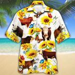 Hereford Cattle Lovers Sun Flower Hawaiian Shirt
