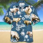 Charolais Cattle Lovers Blue Tribal Hawaiian Shirt