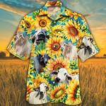 Brahman Cattle Lovers Sunflower Watercolor Hawaiian Shirt