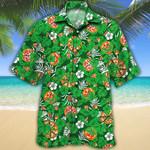 Pizza Lovers Green Floral Hawaiian Shirt