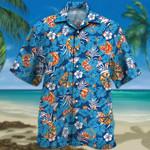 Pizza Lovers Blue Floral Hawaiian Shirt