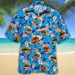 Burger Lovers Blue Floral Hawaiian Shirt
