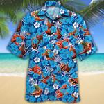 BBQ Lovers Blue Floral Hawaiian Shirt