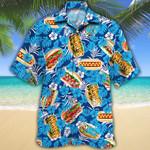 Hot Dog Lovers Blue Floral Hawaiian Shirt