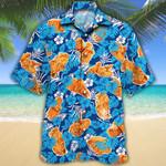Fried Chicken Lovers Blue Floral Hawaiian Shirt