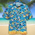 French Fries Lovers Blue Floral Hawaiian Shirt