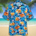 Grilled Cheese Lovers Blue Floral Hawaiian Shirt