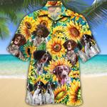 German Shorthaired Pointer Dog Lovers Sunflower Watercolor Hawaiian Shirt