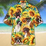 Boxer Dog Lovers Sunflower Watercolor Hawaiian Shirt