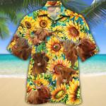 Highland Cattle Lovers Sunflower Watercolor Hawaiian Shirt