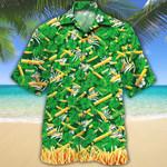 French Fries Lovers Green Floral Hawaiian Shirt