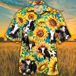 Holstein Friesian Cattle Lovers Sunflower Watercolor Hawaiian Shirt