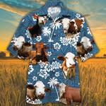 Simmental Cattle Lovers Blue Tribal Pattern Hawaiian Shirt