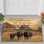 Black Angus Cattle Left The Gate Open Doormat