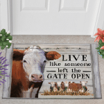 Hereford Cattle Left The Gate Open Doormat