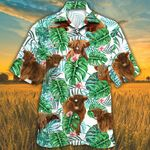 Highland Cattle Lovers Tropical Plant Hawaiian Shirt