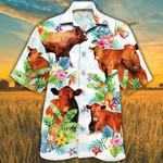 Red Angus Cattle Lovers Tropical Flower Hawaiian Shirt