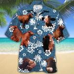 Santa Gertrudis Cattle Lovers Blue Tribal Pattern Hawaiian Shirt