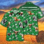 TX Longhorn Cattle Lovers Green Floral Pattern Hawaiian Shirt