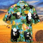 Black Hereford Cattle Lovers Pineapple Hawaiian Shirt