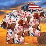 Highland Cattle Lovers American Flag Hawaiian Shirt