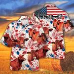 Red Angus Cattle Lovers American Flag Hawaiian Shirt