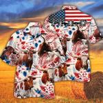 TX Longhorn Cattle Lovers American Flag Hawaiian Shirt