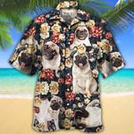 Pug Dog Lovers Green Plaid Pattern Hawaiian Shirt