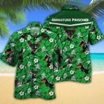 Miniature Pinscher Dog Lovers Green Floral Pattern Hawaiian Shirt