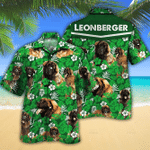 Leonberger Dog Lovers Green Floral Pattern Hawaiian Shirt