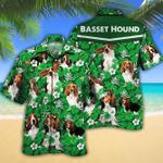 Basset Hound Dog Lovers Green Floral Pattern Hawaiian Shirt