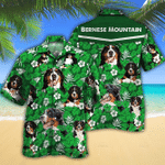 Bernese Mountain Dog Lovers Green Floral Pattern Hawaiian Shirt