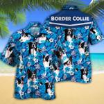 Border Collie Dog Lovers Blue Floral Pattern Hawaiian Shirt