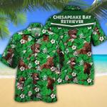 Chesapeake Bay Retriever Dog Lovers Green Floral Pattern Hawaiian Shirt