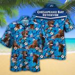 Chesapeake Bay Retriever Dog Lovers Blue Floral Pattern Hawaiian Shirt