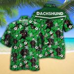 Dachshund Dog Lovers Green Floral Pattern Hawaiian Shirt