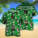 Doberman Pinscher Dog Lovers Green Floral Pattern Hawaiian Shirt
