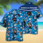 Doberman Pinscher Dog Lovers Blue Floral Pattern Hawaiian Shirt