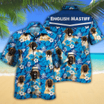 English Mastiff Dog Lovers Blue Floral Pattern Hawaiian Shirt