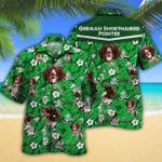 German Shorthaired Pointer Dog Lovers Green Floral Pattern Hawaiian Shirt