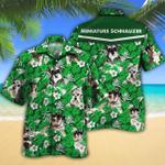 Miniature Schnauzer Dog Lovers Green Floral Pattern Hawaiian Shirt