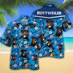 Rottweiler Dog Lovers Blue Floral Pattern Hawaiian Shirt