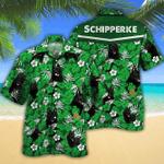 Schipperke Dog Lovers Green Floral Pattern Hawaiian Shirt